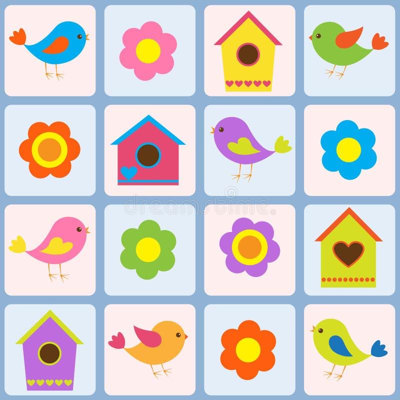Pássaros, flores e birdhouses ilustração royalty free