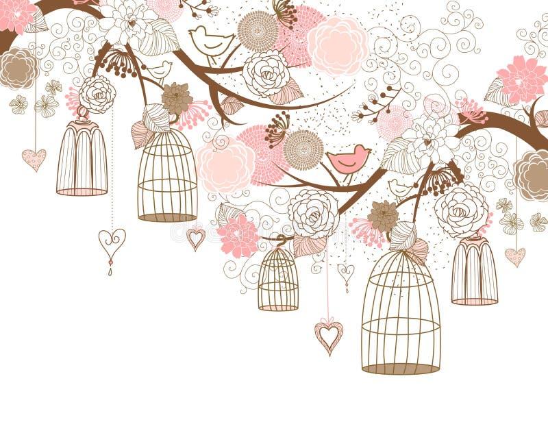 Pássaros fora de suas gaiolas ilustração royalty free