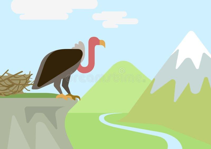 Pássaros lisos dos animais selvagens do vetor dos desenhos animados do ninho da rocha do abutre do grifo ilustração royalty free