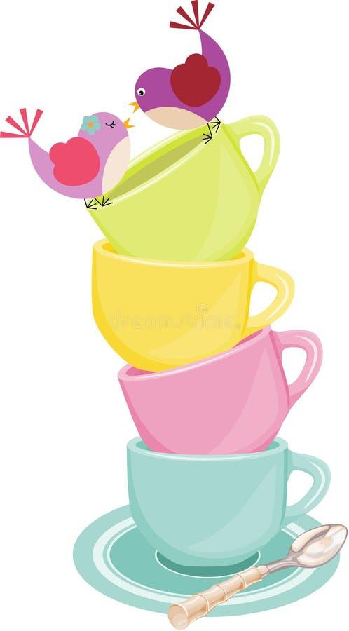 Pássaros loving na pilha de copos de chá ilustração do vetor
