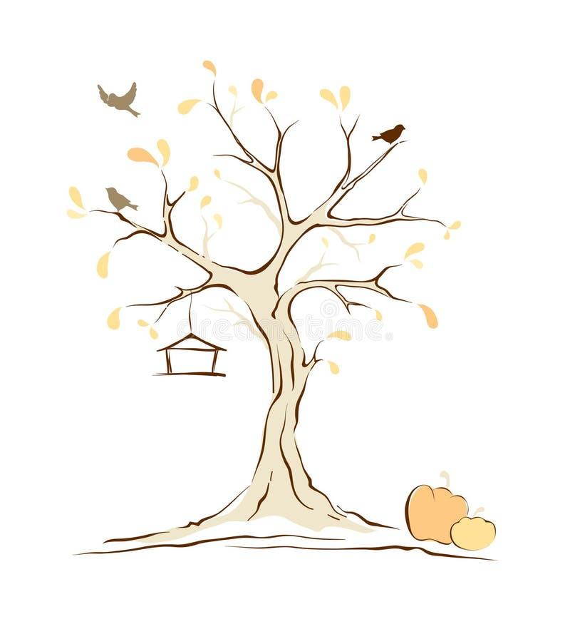 Pássaros na árvore do outono ilustração royalty free