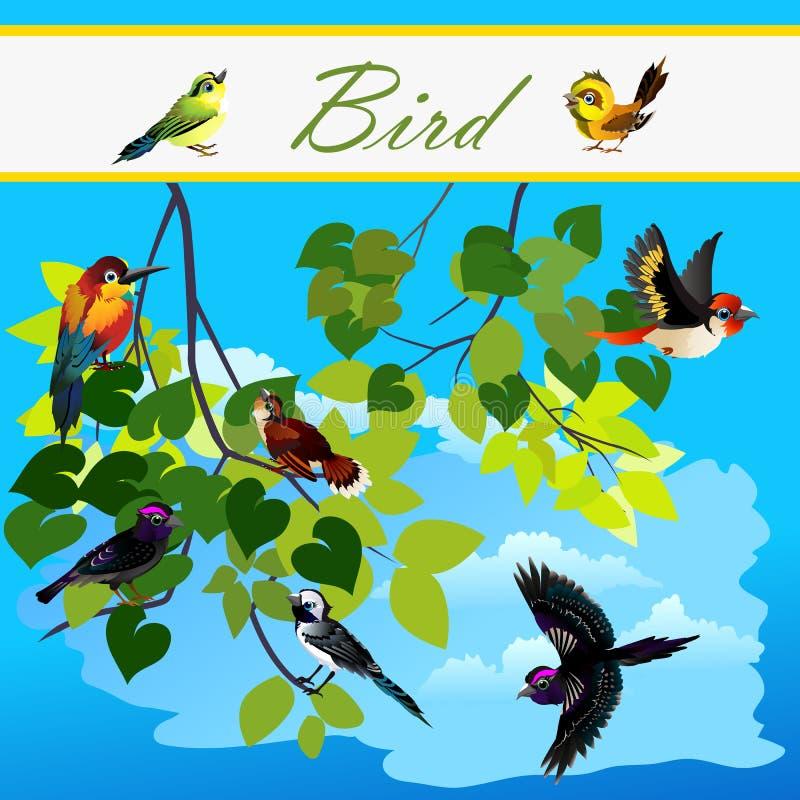 Pássaros na árvore dos ramos, voando no céu ilustração stock