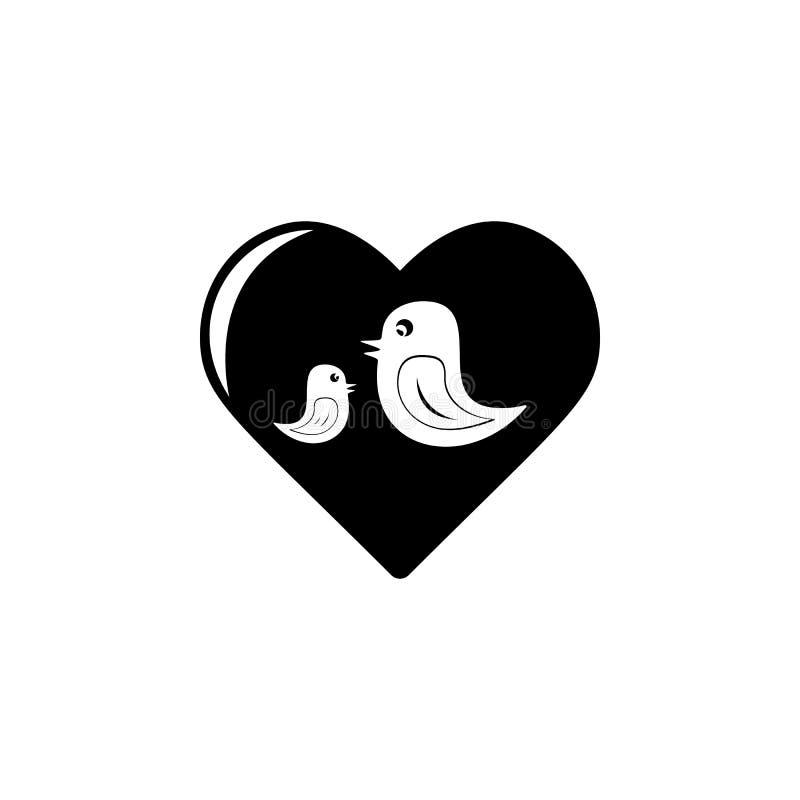 pássaros no ícone do coração Elemento do dia da mãe para apps móveis do conceito e da Web Os pássaros isolados no ícone do coraçã ilustração royalty free