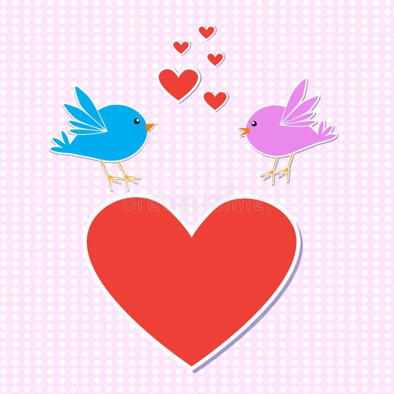 Pássaros no amor ilustração stock