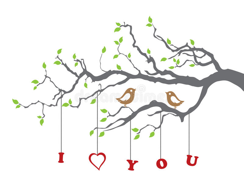 Pássaros no amor em uma filial de árvore