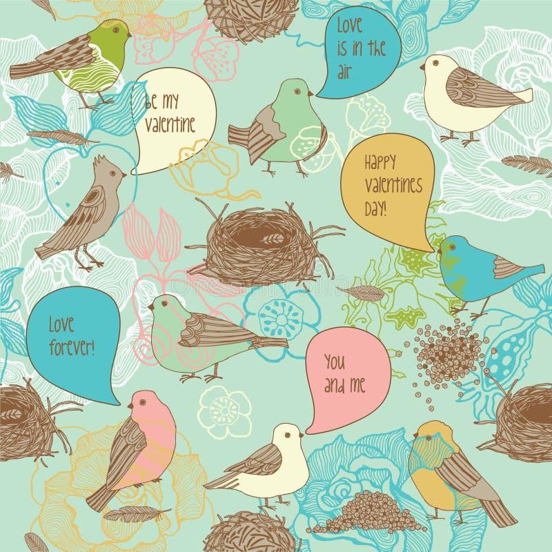 Pássaros no amor. teste padrão sem emenda ilustração stock