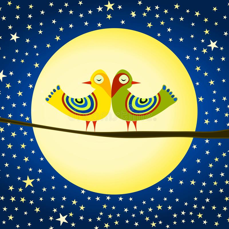 Pássaros no cartão do dia de Valentim da lua ilustração stock