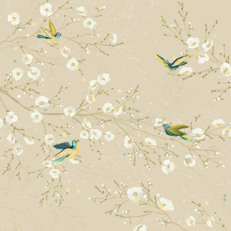 Pássaros no jardim ilustração royalty free