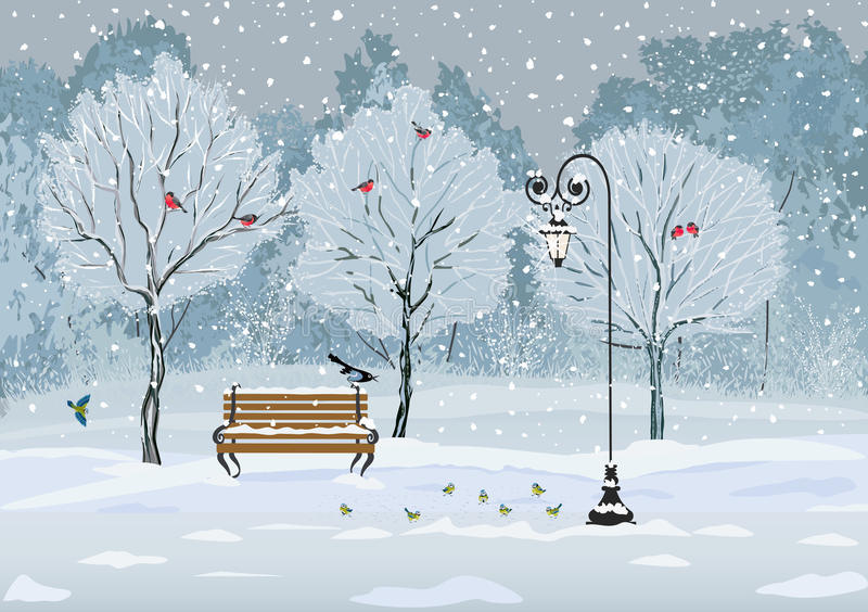 Pássaros no parque ilustração stock