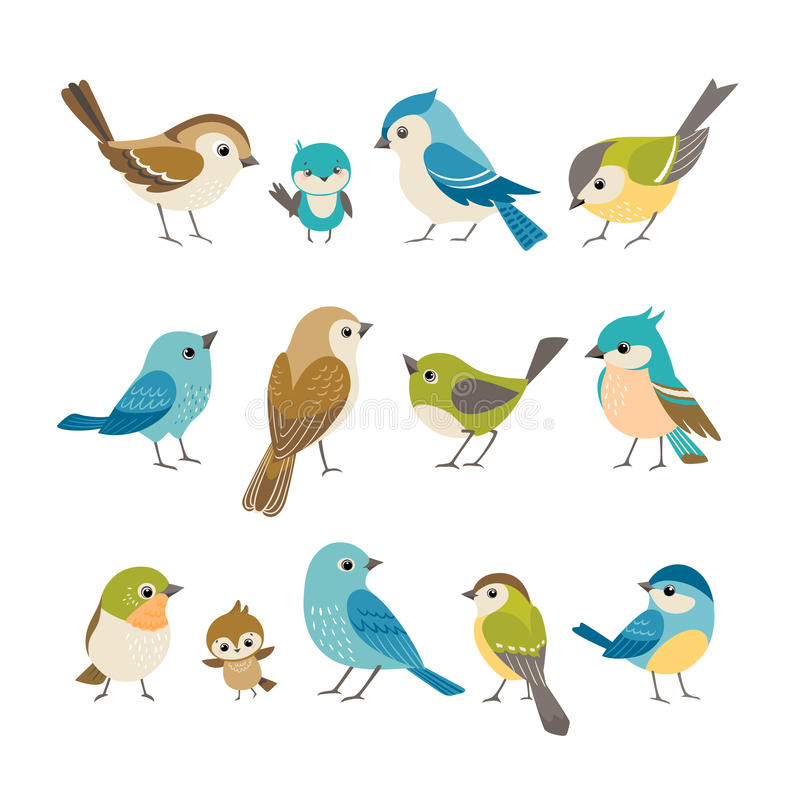 Pássaros pequenos ilustração royalty free