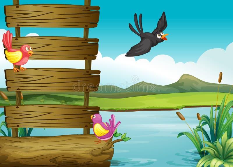 Pássaros perto de um signage de madeira vazio ilustração royalty free