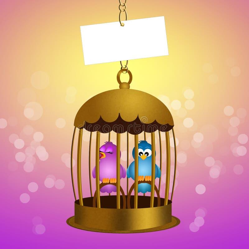 Pássaros prendidos ilustração royalty free