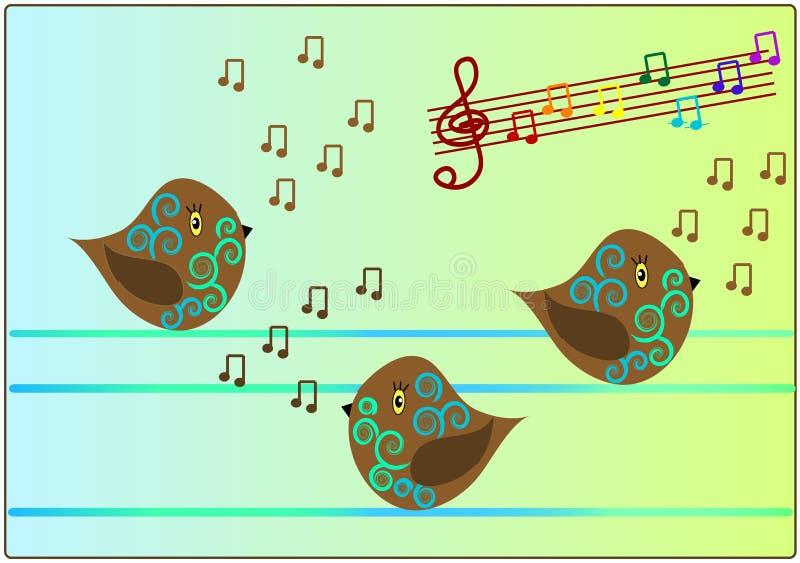 Pássaros que cantam a música da canção ilustração stock