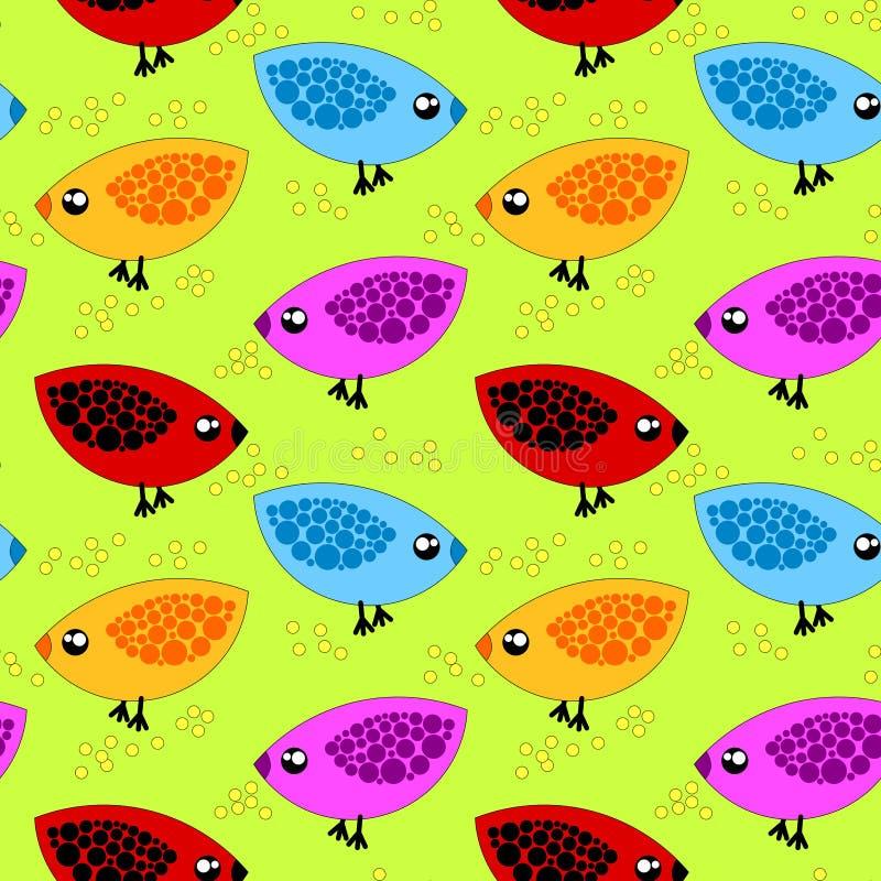 Pássaros que comem o fundo sem emenda do milho ilustração stock
