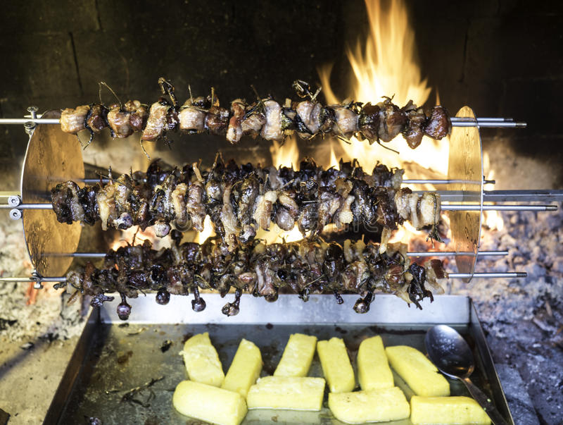 Pássaros que giram sobre um cuspe e um cozinheiro lentamente para o calor da chama foto de stock royalty free