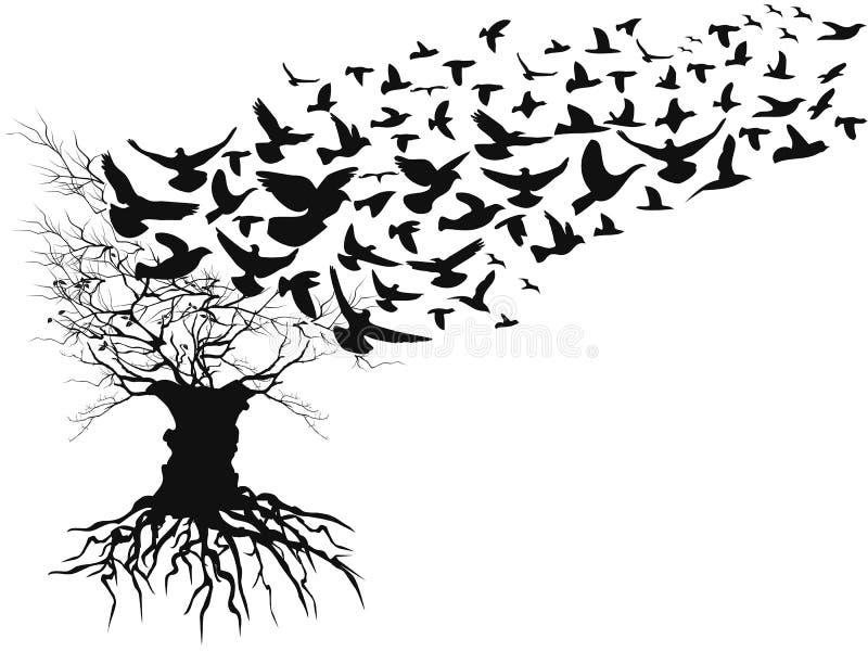 Pássaros que voam a árvore inoperante ausente dos ramos ilustração stock