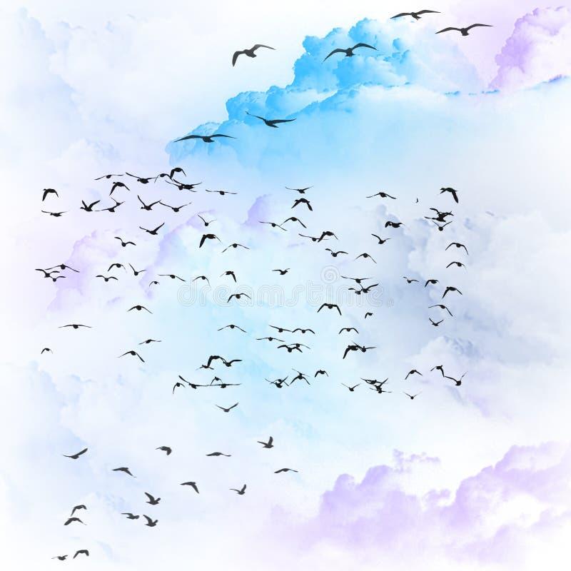 Pássaros que voam nas nuvens ilustração royalty free
