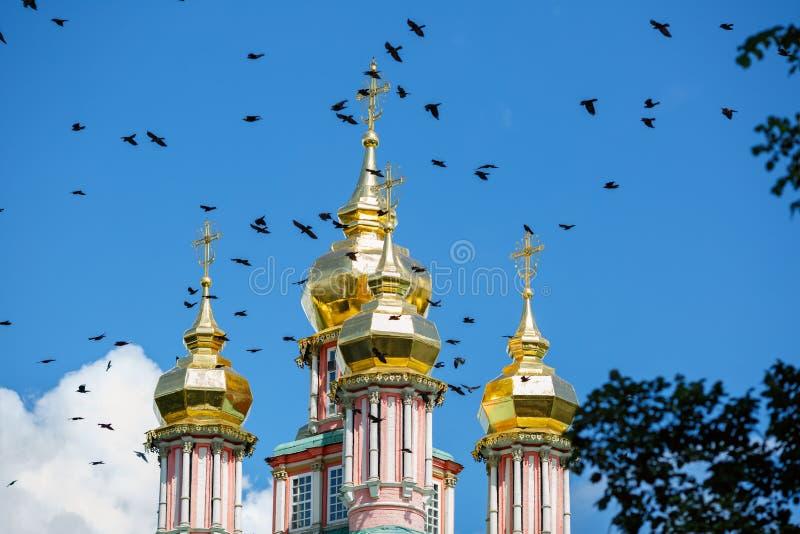 Pássaros que voam sobre as abóbadas da cebola da igreja da porta de St John Baptist Sergiev Posad, Rússia fotos de stock royalty free