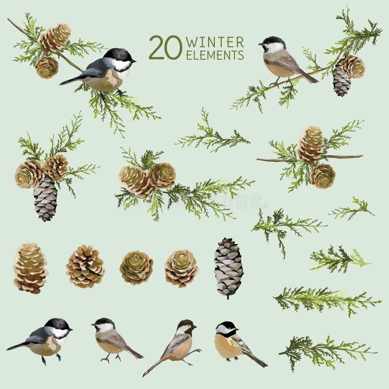Pássaros retros e elementos do inverno ilustração do vetor