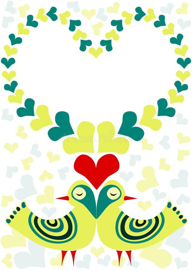 Pássaros retros no cartão do dia de Valentim do amor ilustração do vetor