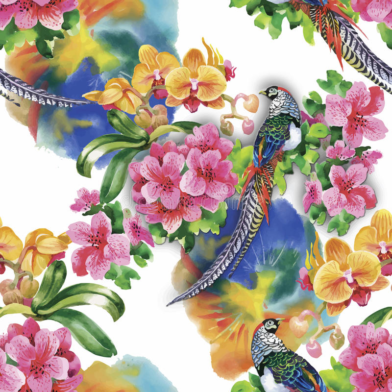 Pássaros selvagens dos animais do faisão no teste padrão sem emenda floral da aquarela ilustração do vetor