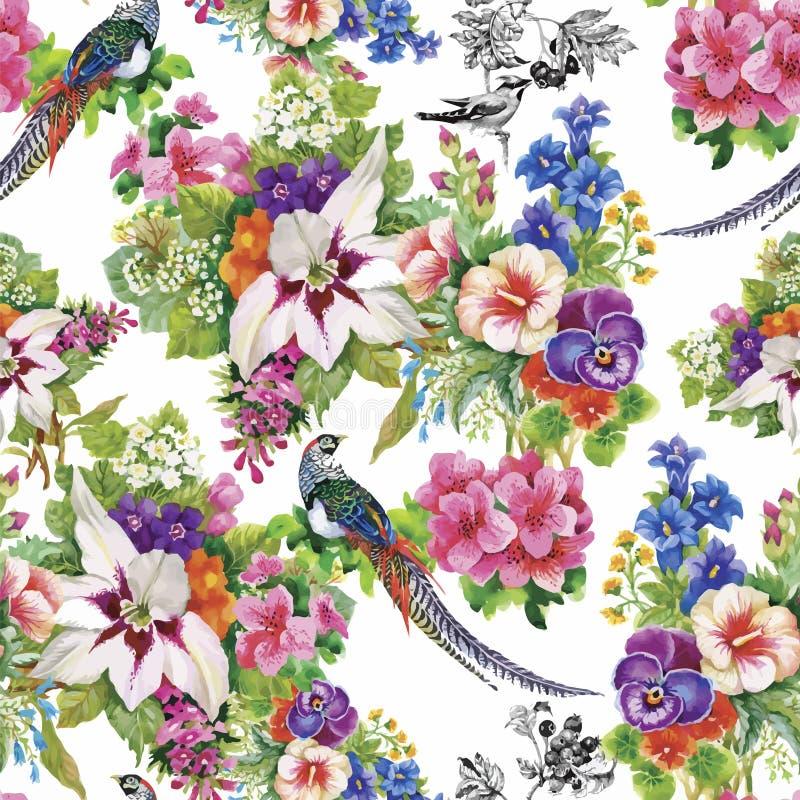 Pássaros selvagens dos animais do faisão no teste padrão sem emenda floral da aquarela ilustração stock