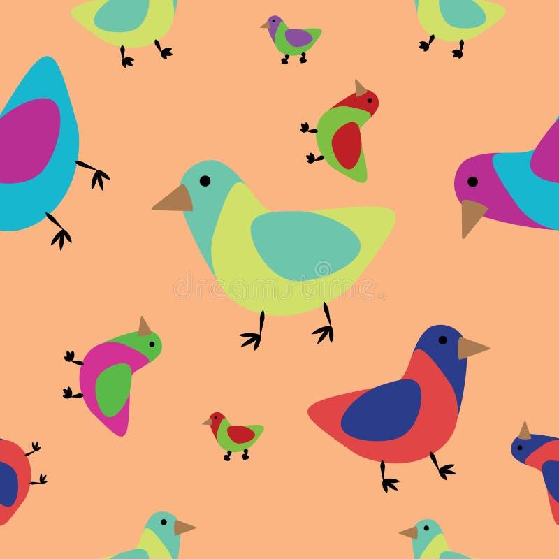 Pássaros sem emenda do teste padrão ilustração royalty free