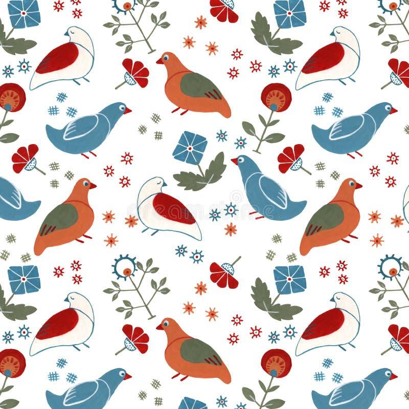 Pássaros sem emenda florais populares da sagacidade do teste padrão ilustração stock