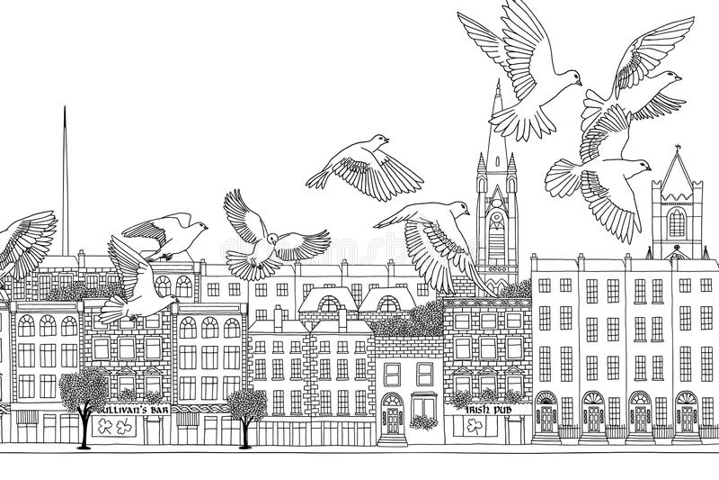 Pássaros sobre Dublin ilustração stock