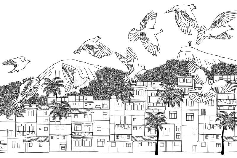 Pássaros sobre o Rio ilustração royalty free