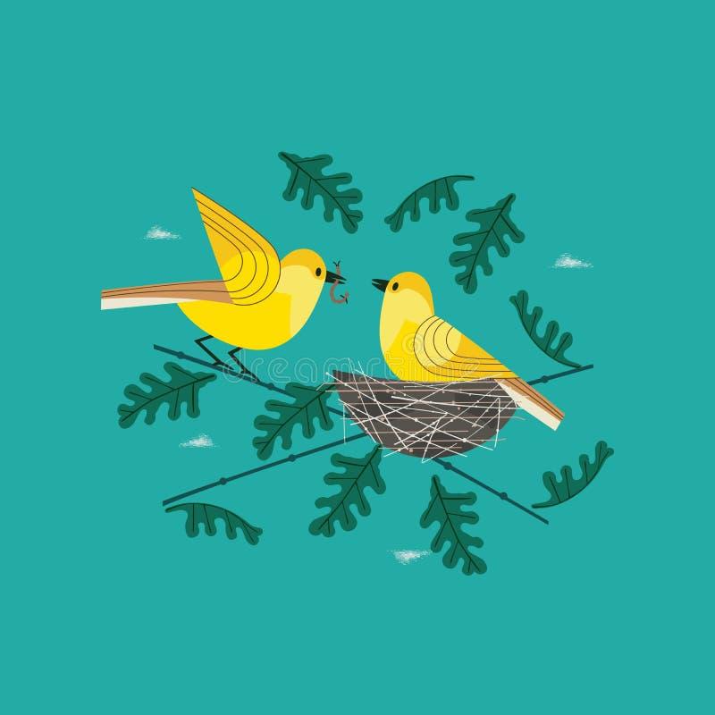 Pássaros tirados mão no ícone do ninho ilustração royalty free