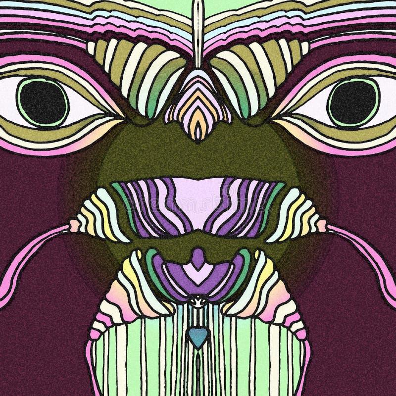 Pássaros tropicais com olhos grandes tra??o abstrata ilustração do vetor