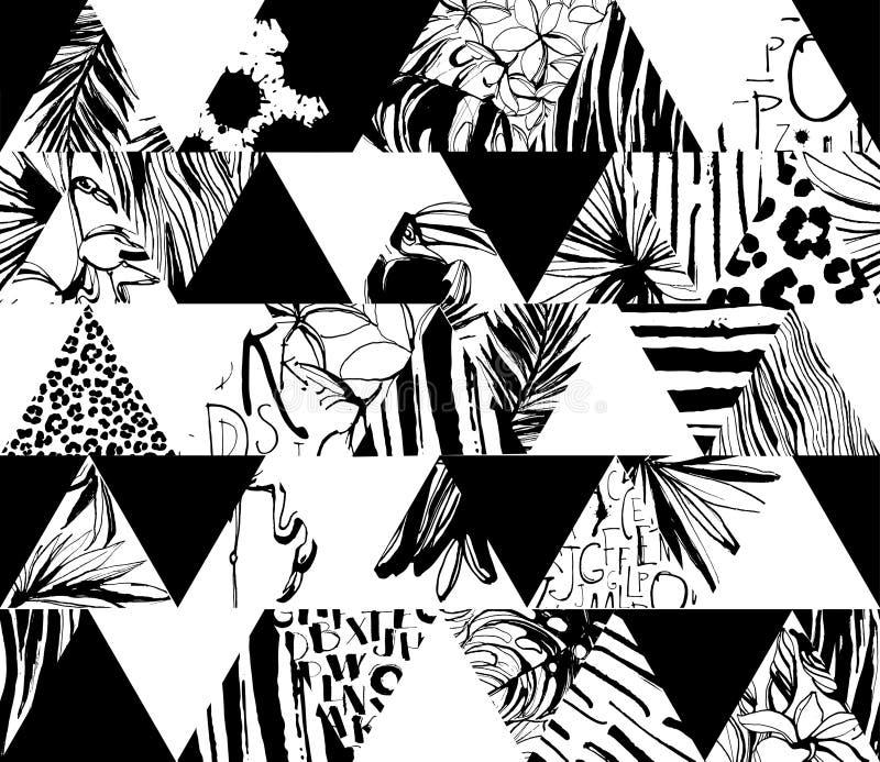 Pássaros tropicais do teste padrão sem emenda, palmas, flores, triângulos Estilo da tinta do Grunge ilustração do vetor