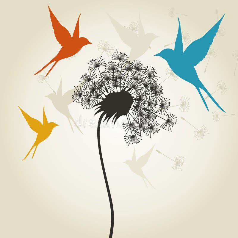 Pássaros um flower3 ilustração stock