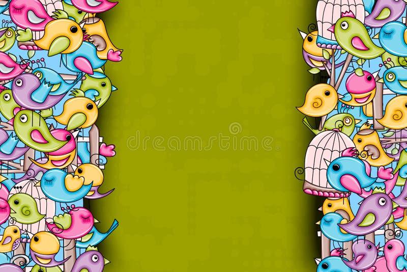 Pássaros verão ou conceito da mola projeto do fundo da garatuja dos desenhos animados 3d ilustração royalty free
