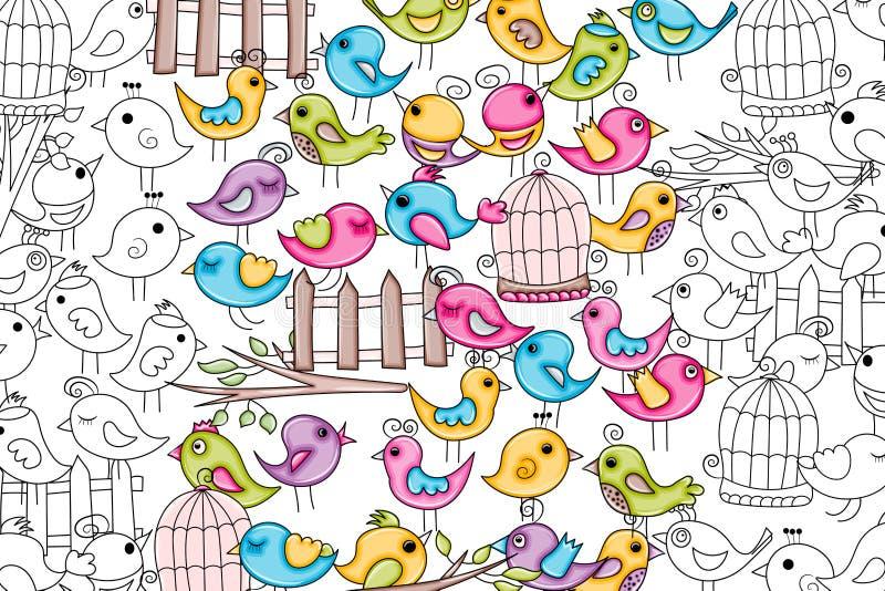 Pássaros verão ou conceito da mola projeto do fundo da garatuja dos desenhos animados 3d ilustração do vetor