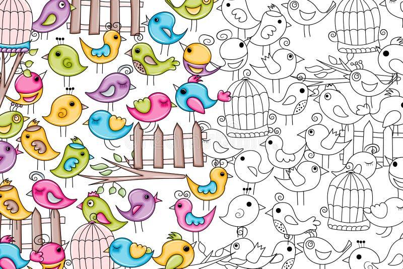 Pássaros verão ou conceito da mola projeto do fundo da garatuja dos desenhos animados 3d ilustração stock