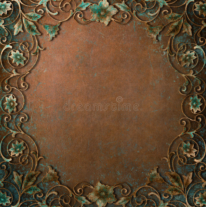 Pátina adornada del cobre del marco imagenes de archivo