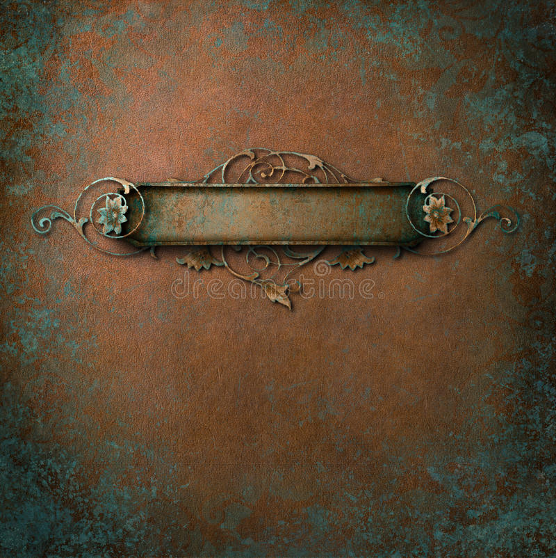 Pátina ornamentado do cobre da chapa foto de stock royalty free