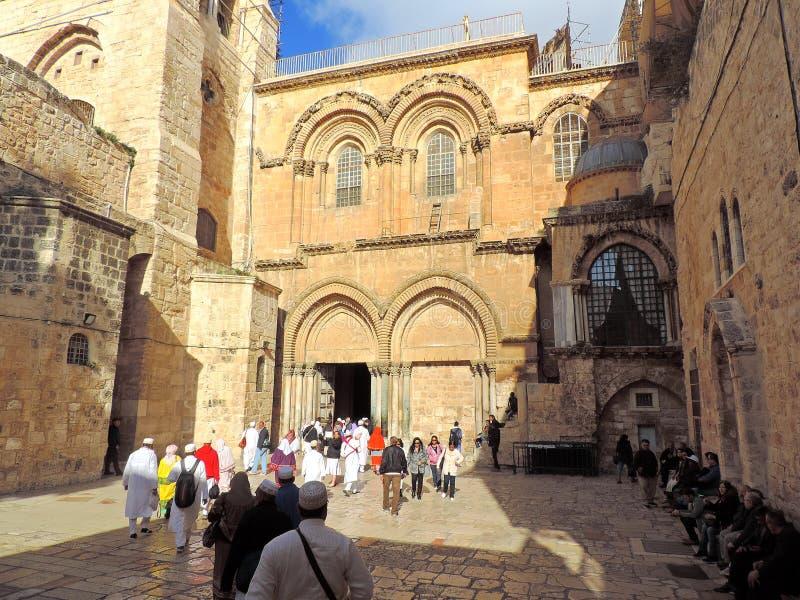 Pátio da igreja do sepulcro santamente, Jerusalém imagem de stock