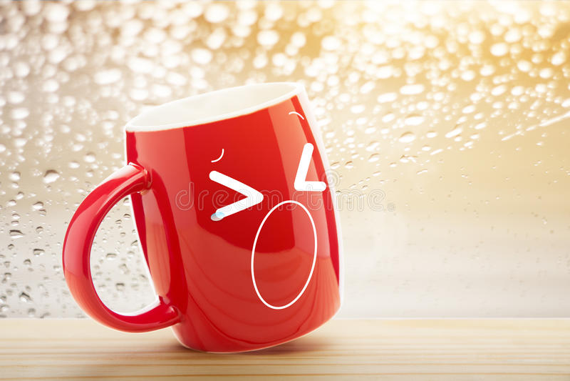 Pátio de entrada coberto vazio vermelho de copo de café a manhã ilustração royalty free