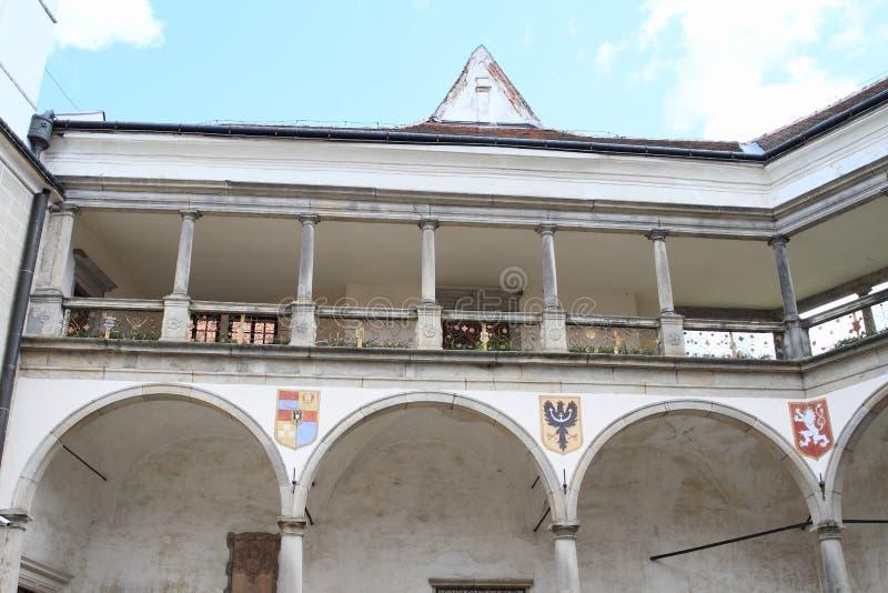 Pátio do castelo em Telc imagem de stock