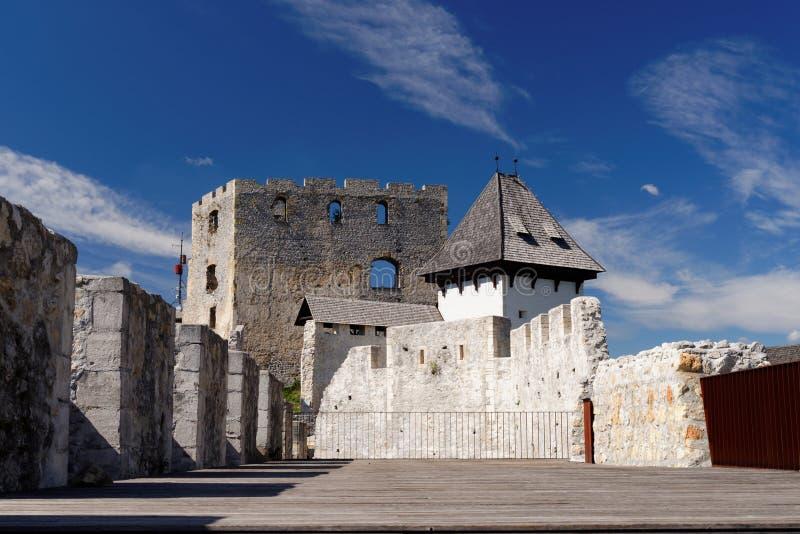 Pátio do castelo medieval de Celje em Eslovênia imagem de stock royalty free