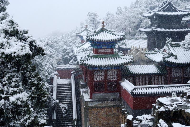 Pátio do clássico chinês na neve fotografia de stock