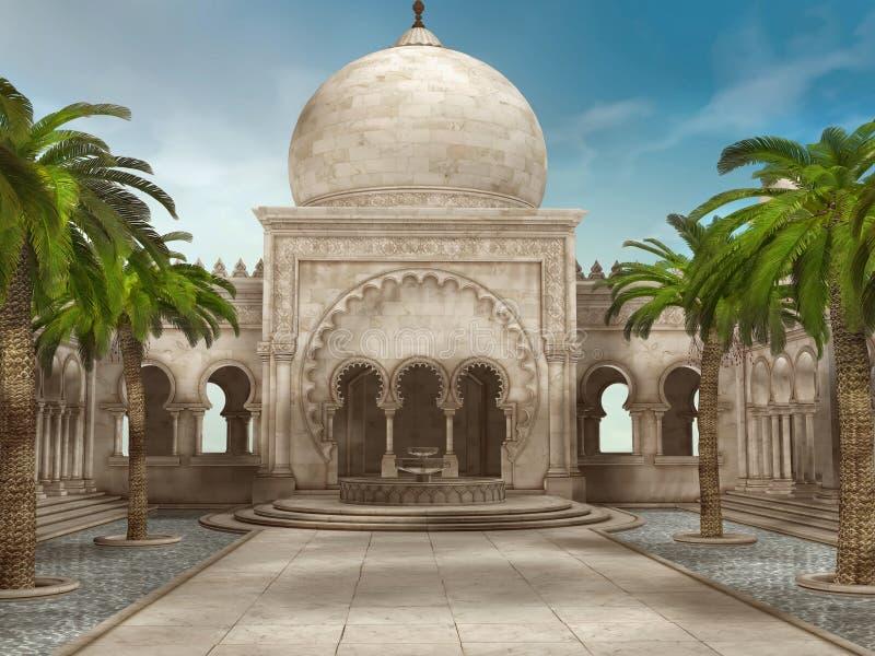 Pátio do palácio com palmas ilustração do vetor