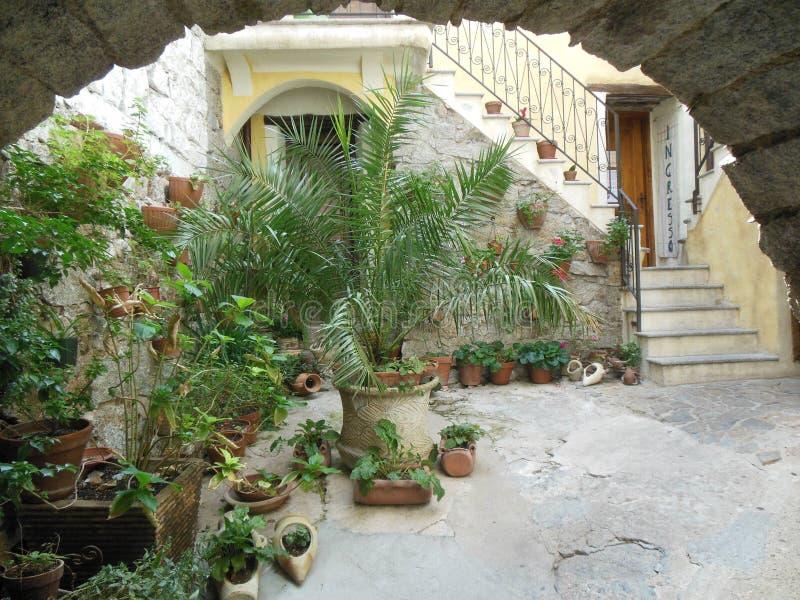 Pátio italiano com muitas plantas em pasta e escadaria imagem de stock royalty free