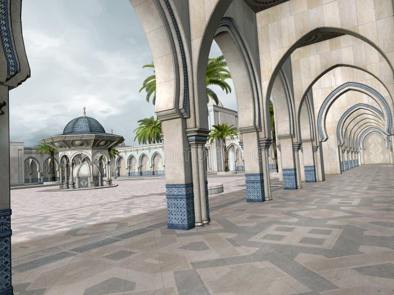 Pátio oriental com árvores ilustração royalty free