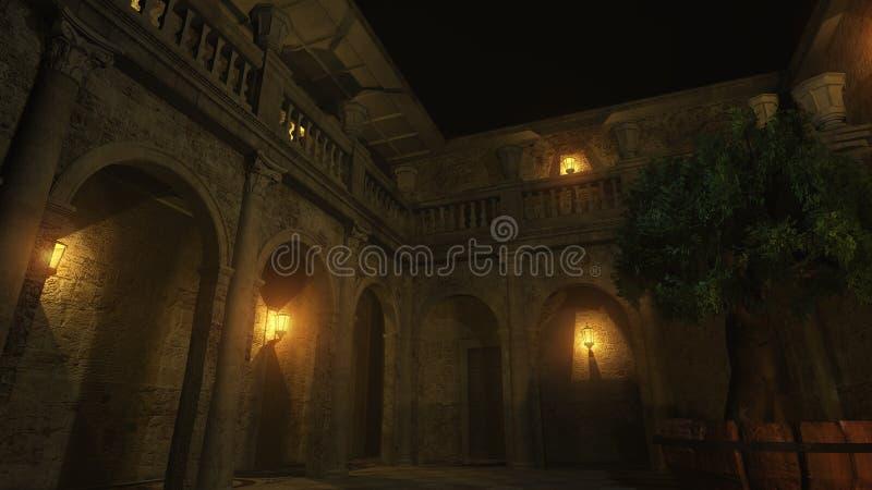 Pátio romano na noite ilustração do vetor