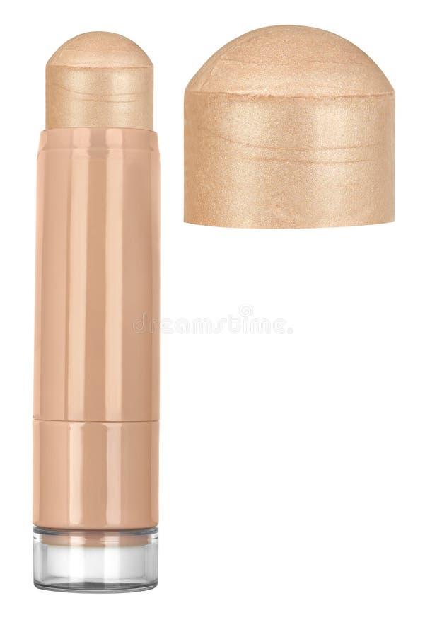 Pâle - bâton cosmétique brillant rose de base solide de maquillage de visage avec les particules de scintillement et le plus gran photographie stock