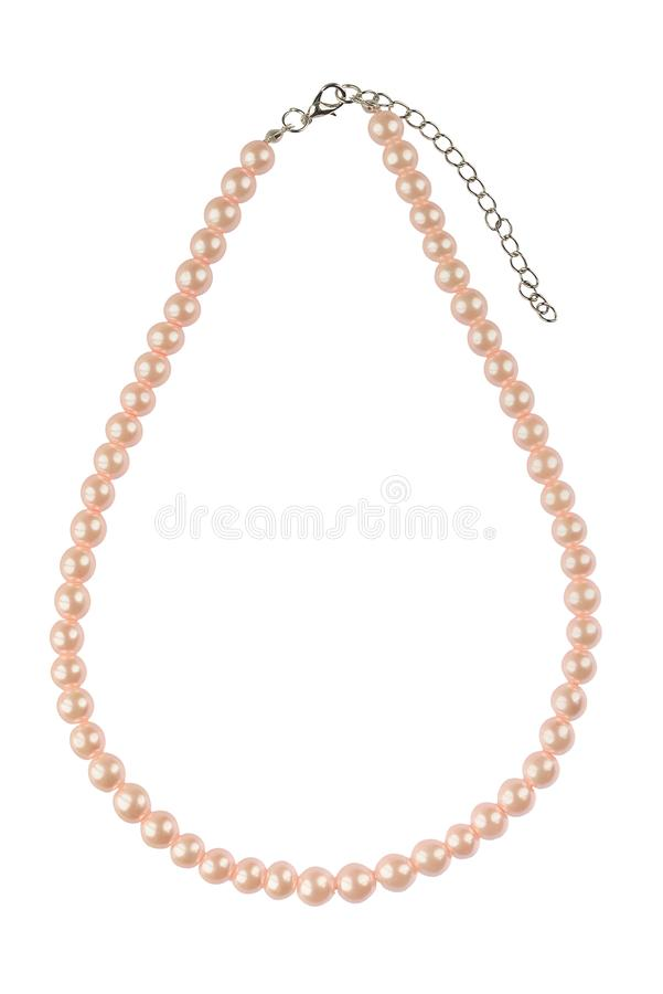 Pâle - grand collier élégant rose fait de perles rondes moyennes comme des perles, article de mode d'isolement sur le fond blanc, image libre de droits